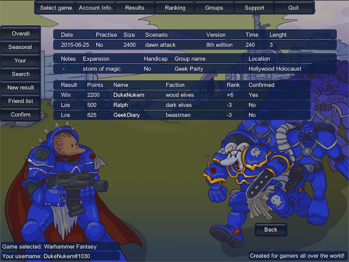 Game result details -page