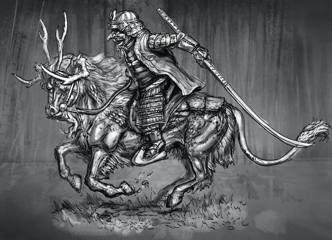 Kirin galloping with armoured dwarf