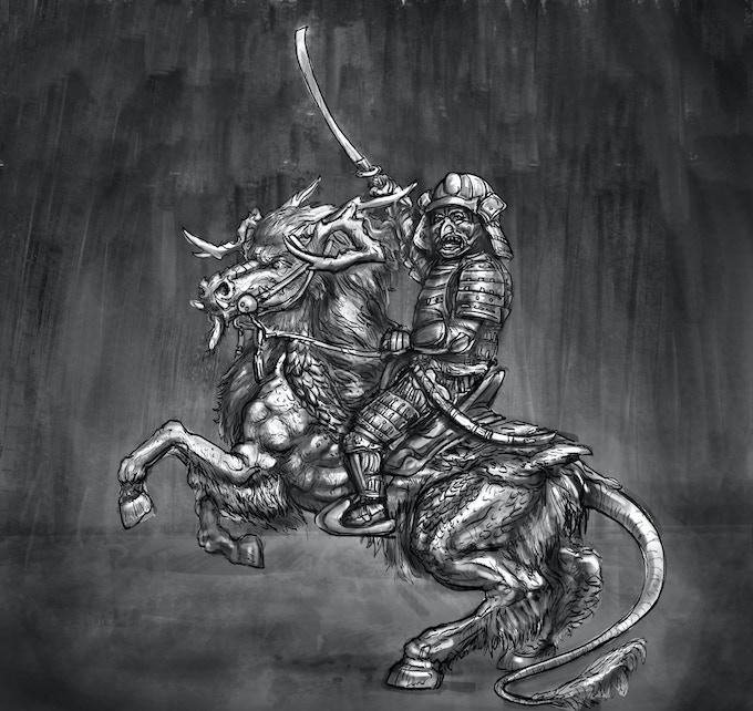 Kirin rearing with armoured dwarf
