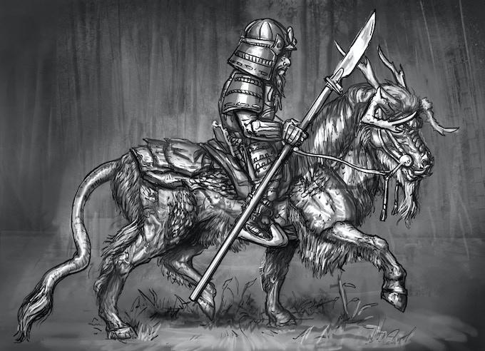 Kirin trotting with armoured Dwarf