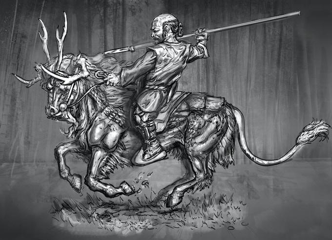 Kirin galloping with unarmoured dwarf
