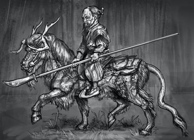 Kirin trotting with unarmoured dwarf
