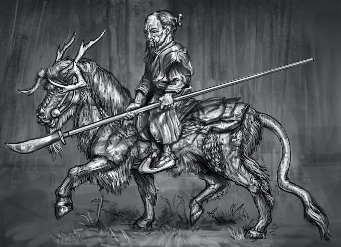 Kirin trotting with unarmoured dwarf