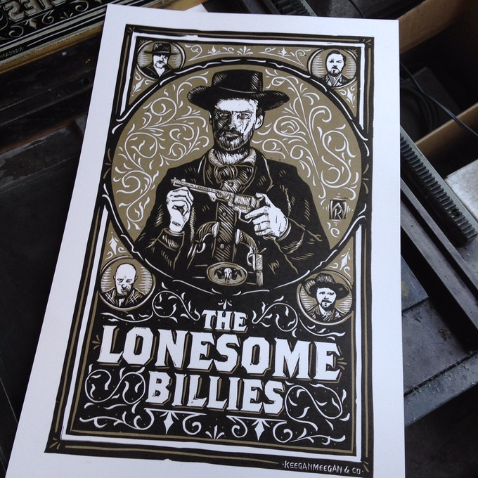 Limited edition linocut poster from Keegan & Meegan Co. Available with select donations.