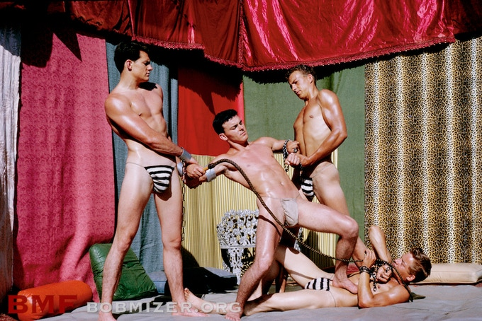 "Production still from ""Slave for a Queen."" Ron Roberts, Gary Scott, Gordon Parnell & Bill Mahrer. Los Angeles, 1964."