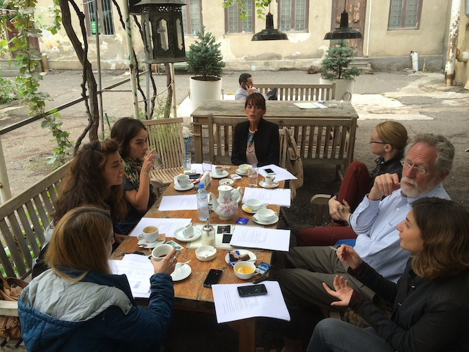 Team Georgia and Team Portland talking strategy in Tbilisi