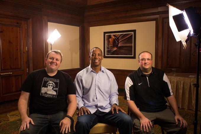 Co-Directors Brad (right) and Sean P. Malone (left) with Arizona's all-time leading scorer Sean Elliott (center) (Photo by Sean P. Malone).