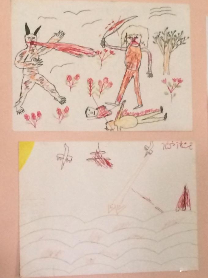 Georgian youth's powerful drawing