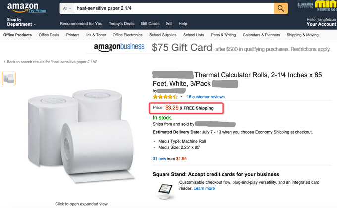 Snapshot of Thermal Paper on Amazon.com