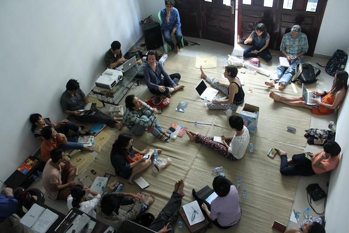 workshop at San Art Laboratory with Indian artist Nalini Malini, 2013
