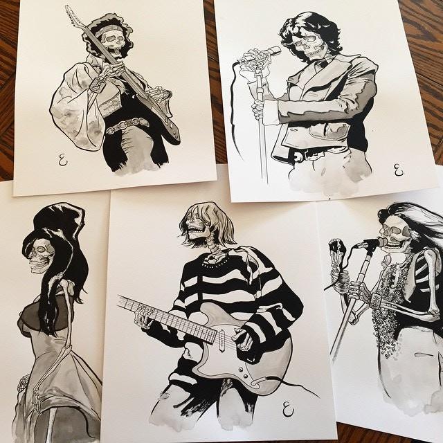 "ROCK-N-ROLL WILL NEVER DIE reward: Original inked sketches, 11"" x 17"" archival bristol board, artist Michael Ellis"