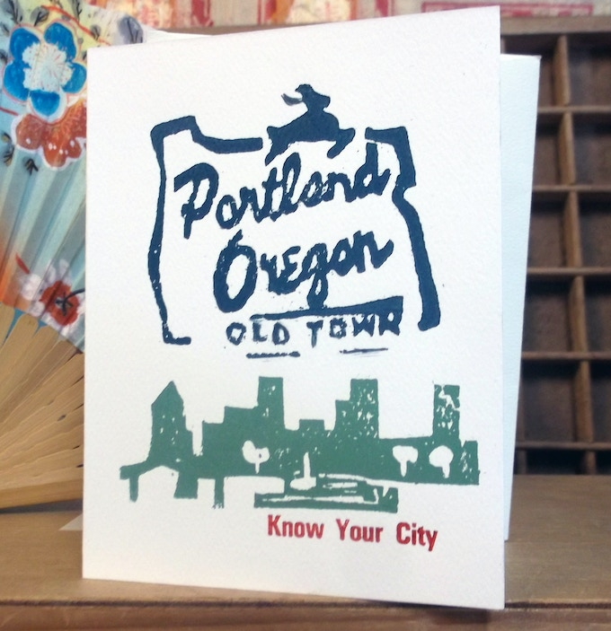 Receive a thank you note in the mail, plus a letterpressed Know Your City card by artist Carye Bye $10