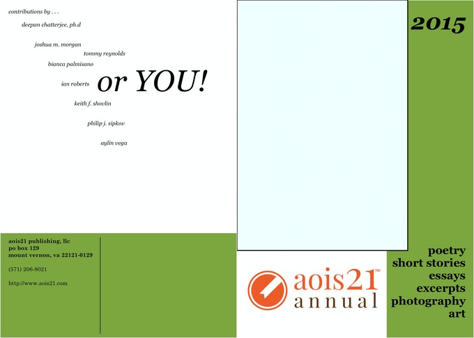 The front and back cover of the 2015 aois21 annual. All we need is you!
