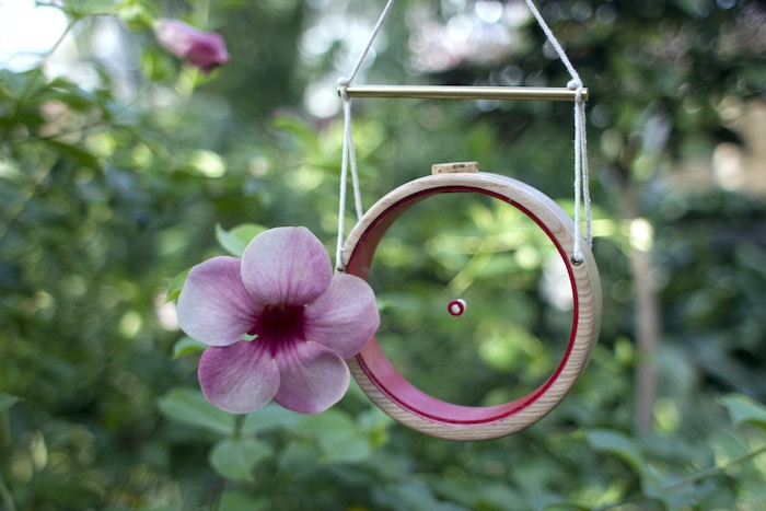 A hummingbird feeder designed to frame each visiting bird, creating a cherished visual experience.
