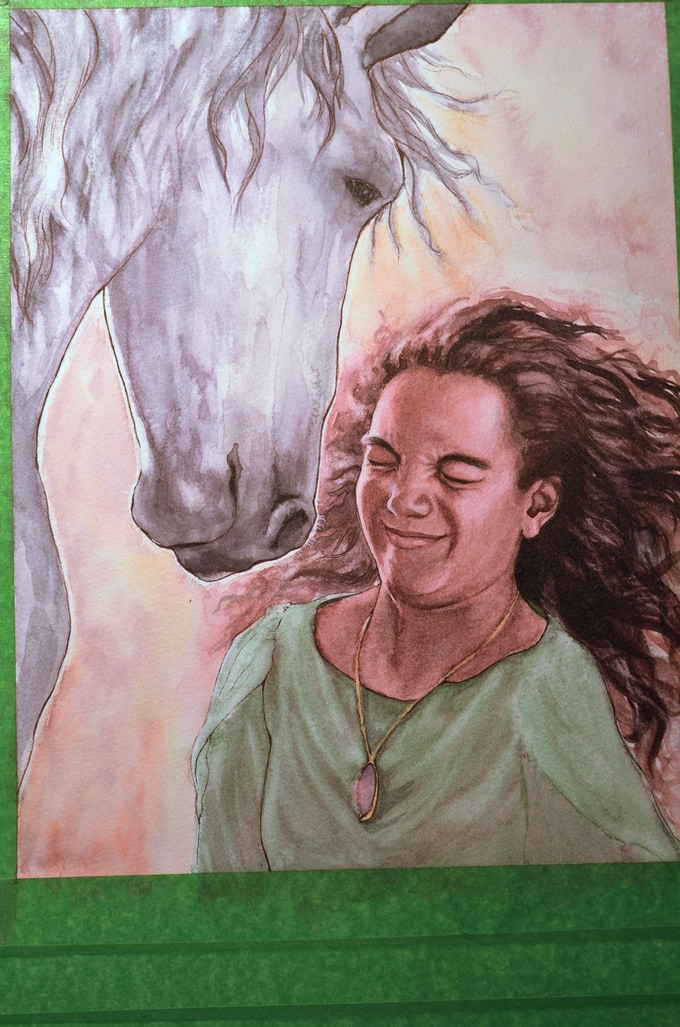 """Example of a partially completed illustration: """"Boreas sniffed her once, twice, then blew her hair back with a great snort and knelt down that she might mount."""""""