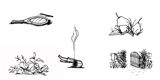 Examples of woodcut style insert illustrations