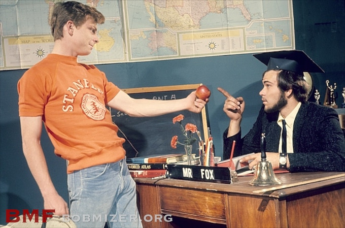 "Production still from ""Getting Teacher's Goatee."" Paul Fox & Jim Walsh. Los Angeles, 1970."