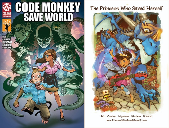 Code Monkey Save World and The Princess Who Saved Herself, previous books by the same creative team, also available as rewards in this Kickstarter.