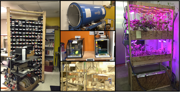 L - electronics supplies, pick and place machine; R - aquaponics experiment; C - top, freeze dryer (used to make astronaut ice cream!), 2 of the 5 working 3D printers, ceramics in various states of completion