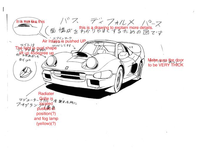 Original design drawing of Buff the Roadbuster