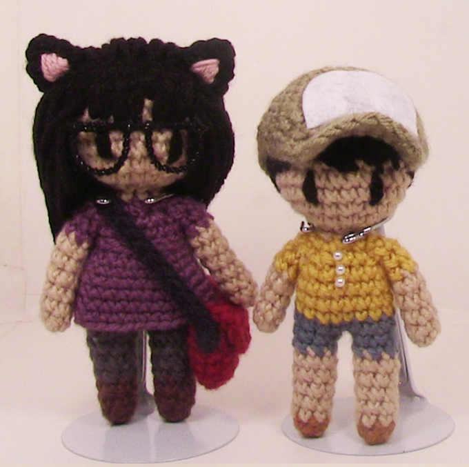 Prototypes of the limited edition crochet dolls included at the $275 reward level.