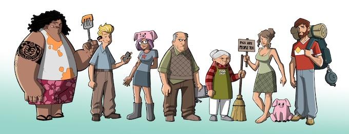 (From Left to Right: Randy, The Chip, Kobuta, Harold, Mrs. Johnson, Fern, Pickles, Bryan)