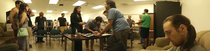 No, we didn't manage to photograph Janus. This is just a slightly imperfect panorama of today's meetup.