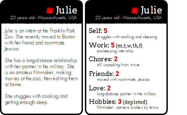A prototype character card, front and back.