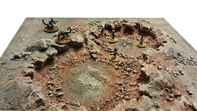 Grey Wastes theme, Artillery craters tile, with 15mm SciFi miniatures