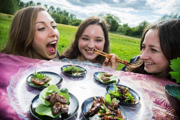 Also, bugs are really tasty..this photo shows three members of our team, Rebecca Roberts, Charlotte Payne and Annie Zimmerman. Photo by Oxford Mail.