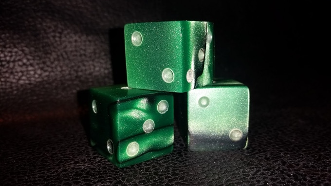 Kickstarter Green Acrylic Dice Ready to Polish