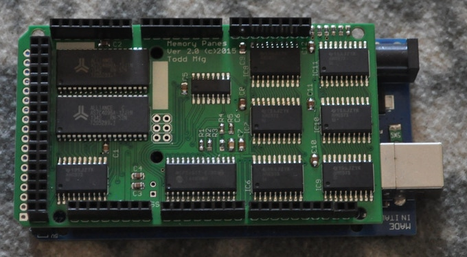 Memory Pane V.2 Stacked on Arduino Mega2560
