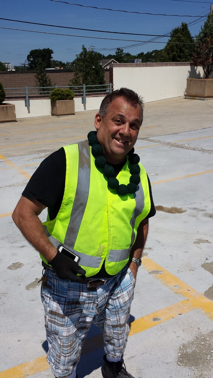Construction worker finds serious releif from heat