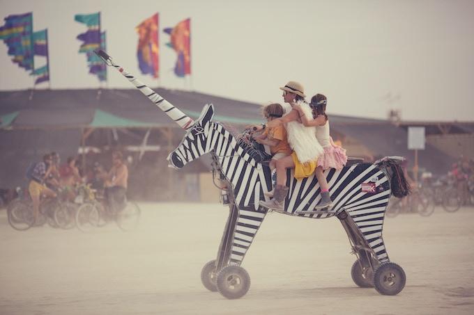 April & Her Littles on their Zebracorn ~ BM 2014