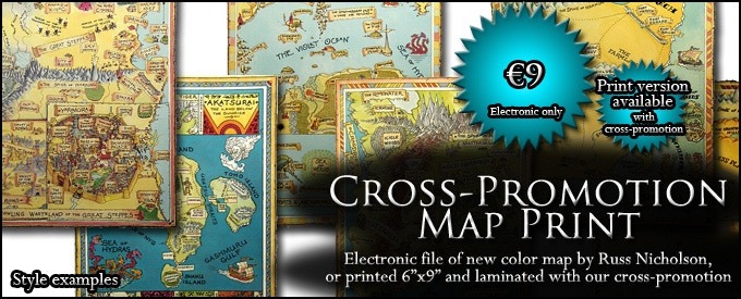 CROSS-PROMOTION MAP PRINT: Receive the color version of Russ Nicholson's map, in an electronic file if only our project succeeds, in a sturdy laminated print if you help both projects succeed (€9, approx. $10)