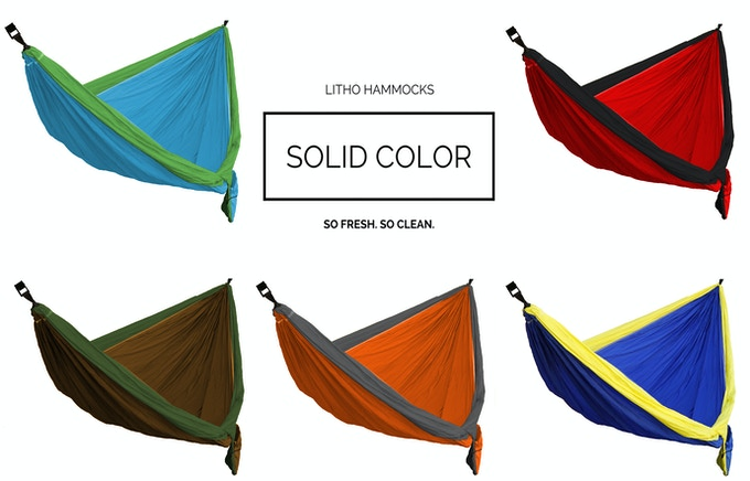 Choose from one of our five Double Wide Solid Colored Litho Hammocks.  They measure 6.5'x11' and come with two 11' straps.