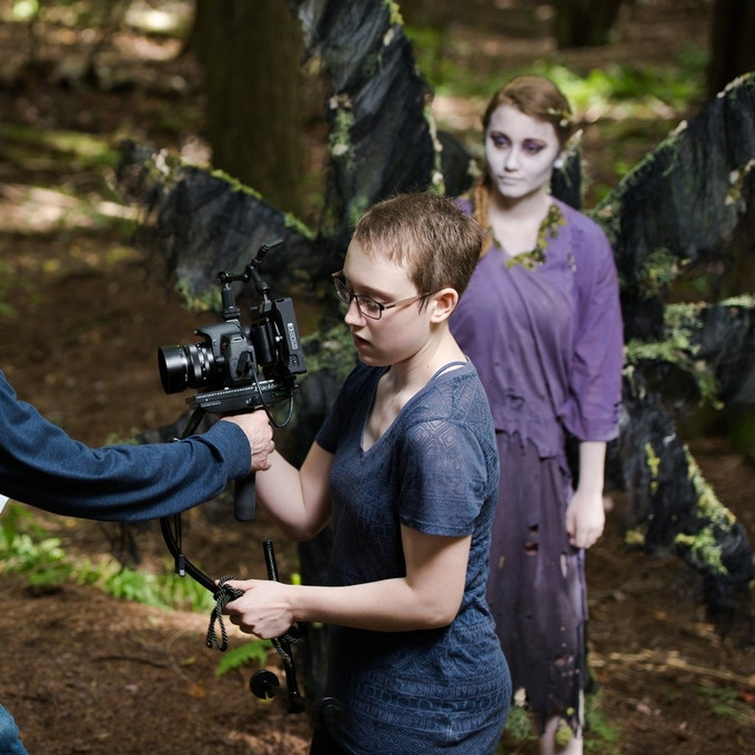 """Morgana operating her Blackbird Stabilizer, on the set of """"We All Go the Same"""" in September 2014"""