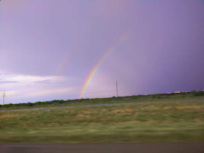 A very timely double-rainbow over Texas