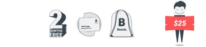 $25 - 2 months free Boocla $19.99 subscription, 50 business cards and Boocla training bag