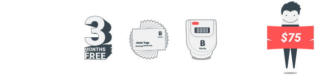 $75 - 3 months free Boocla $24.99 subscription, 100 business cards and Boocla pedometer