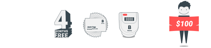 $100 - 4 months free Boocla $29.99 subscription, 250 business cards and Boocla pedometer