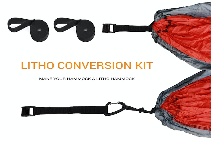 If you already own a hammock, but want the ease and variability that comes with a Litho Hammock, the Litho Conversion Kit is for you! Comes with two cam locks and two 11' straps.