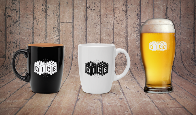 Dice mugs and pint glass - £5 each as add-ons