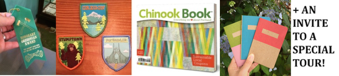 Wayfinder Package: Receive a collection of 3 Scout Books, Summer 2015 Chinook Book, Crafty Wonderland ribbon and embroidered Oregon patches PLUS an invite to attend a special tour based on our PDX Social History Guide app! $100