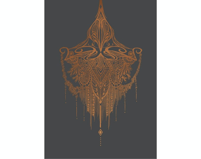 """Arabian Night"" - Copper metallic ink on graphite grey"