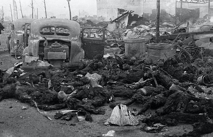 A image from WWII showing innocent peoples lost their lives