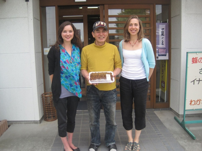 Charlotte and Becca with Mr Tsukahara