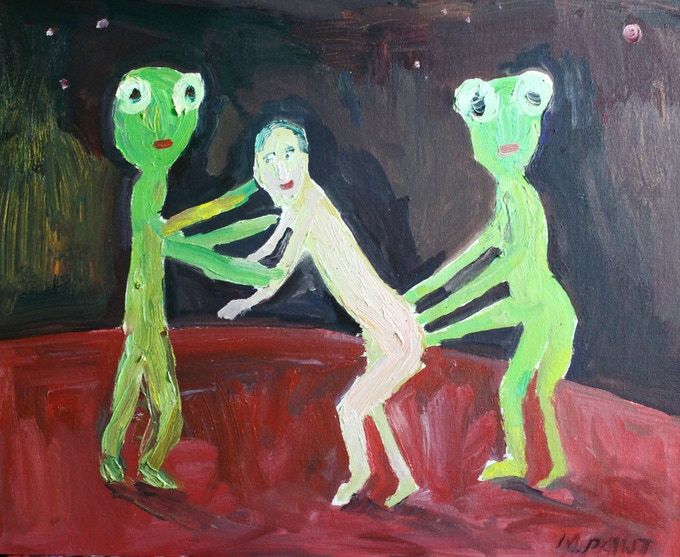 My Alien abduction oil painting