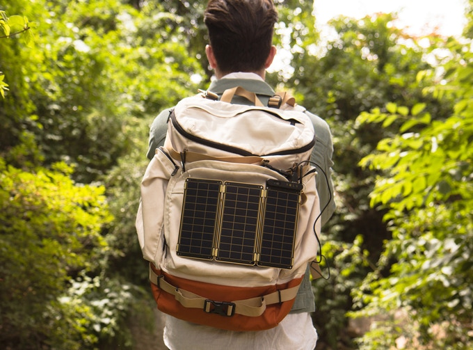 Hanging Solar Paper on a backpack