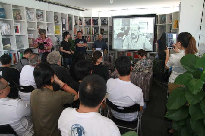 Q&A at festival offices. For the last few years, BIFF was forced to relocate film screenings to their offices. Authorities shut them out of the Songzhuang Art Museum. Fanhall Films was shut down. Nearby hotels also would not hold screenings.